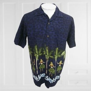 Steve & Barrys Hawaiian shirt hula girl camp vtg L